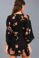 Wayfair Black Floral Print Long Sleeve Dress 4