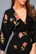 Wayfair Black Floral Print Long Sleeve Dress 5