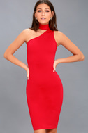 Fan of the Glam Red One-Shoulder Bodycon Midi Dress 1
