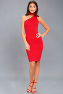 Fan of the Glam Red One-Shoulder Bodycon Midi Dress 2