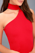 Fan of the Glam Red One-Shoulder Bodycon Midi Dress 4