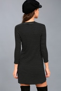 Cool Horizons Black and White Striped Long Sleeve Dress 3