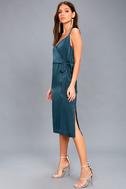 Fall in Love Teal Blue Satin Midi Wrap Dress 1