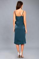 Fall in Love Teal Blue Satin Midi Wrap Dress 3