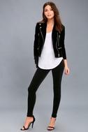 Aviana Black Velvet High-Waisted Leggings 2