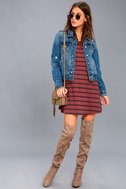 Time Table Washed Burgundy Striped Long Sleeve Dress 2