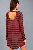 Time Table Washed Burgundy Striped Long Sleeve Dress 3