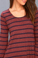 Time Table Washed Burgundy Striped Long Sleeve Dress 4