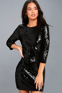 Pass the Champagne Black Sequin Bodycon Dress 3