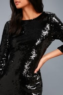 Pass the Champagne Black Sequin Bodycon Dress 5