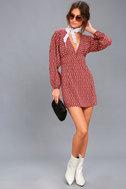 Arrowhead Rusty Rose Print Long Sleeve Dress 2