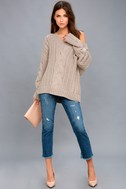 Camp Cozy Taupe Cable Knit Sweater 1
