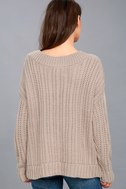 Camp Cozy Taupe Cable Knit Sweater 3