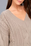 Camp Cozy Taupe Cable Knit Sweater 4