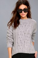 Beth Grey Cable Knit Sweater 2