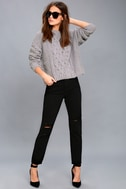 Beth Grey Cable Knit Sweater 1