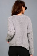 Beth Grey Cable Knit Sweater 3