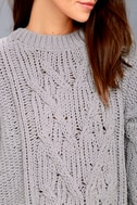 Beth Grey Cable Knit Sweater 4