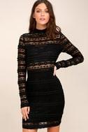 Reece Black Lace Long Sleeve Bodycon Dress 1