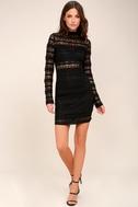 Reece Black Lace Long Sleeve Bodycon Dress 2