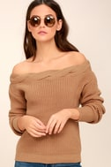 Weatherley Light Brown Off-the-Shoulder Knit Sweater 1