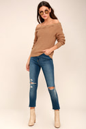 Weatherley Light Brown Off-the-Shoulder Knit Sweater 2