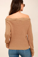 Weatherley Light Brown Off-the-Shoulder Knit Sweater 3