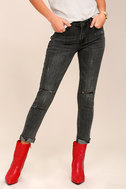 Want You Back Washed Black Distressed Ankle Skinny Jeans 2