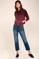 Smudged Plum Purple Ombre Cropped Mock Neck Sweatshirt 2