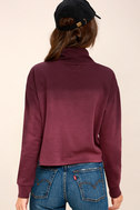 Smudged Plum Purple Ombre Cropped Mock Neck Sweatshirt 4