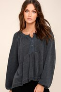 Acadia Washed Black Long Sleeve Henley Top 2