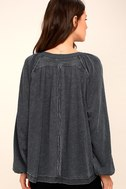 Acadia Washed Black Long Sleeve Henley Top 4