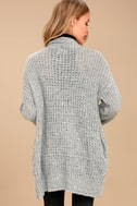 Turning Leaves Grey Knit Cardigan Sweater 3