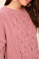 Beth Pink Cable Knit Sweater 5