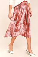 Hathaway Blush Pink Velvet Pleated Midi Skirt 3