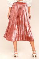 Hathaway Blush Pink Velvet Pleated Midi Skirt 4