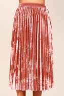 Hathaway Blush Pink Velvet Pleated Midi Skirt 5