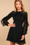 Longtime Love Black Long Sleeve Skater Dress 3