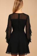 Longtime Love Black Long Sleeve Skater Dress 4
