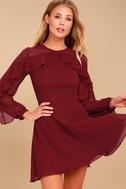 Longtime Love Burgundy Long Sleeve Skater Dress 2
