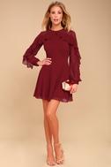 Longtime Love Burgundy Long Sleeve Skater Dress 1
