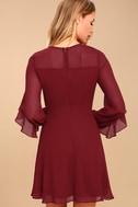 Longtime Love Burgundy Long Sleeve Skater Dress 3