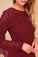 Longtime Love Burgundy Long Sleeve Skater Dress 4
