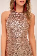 Infinite Dreams Rose Gold Ombre Sequin Maxi Dress 4