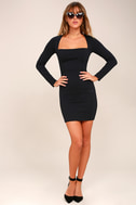 Play the Part Black Long Sleeve Bodycon Dress 2