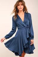Elsa Blue Satin Long Sleeve Wrap Dress 2
