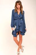Elsa Blue Satin Long Sleeve Wrap Dress 1