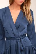 Elsa Blue Satin Long Sleeve Wrap Dress 5