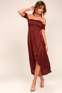 Tranquility Wine Red Satin Off-the-Shoulder Dress 2