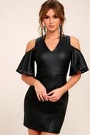 Dakota Black Vegan Leather Cold-Shoulder Dress 1